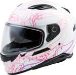 GMAX FF-98 WILLOW Full-Face Street Motorcycle Helmet w/Drop-Down Sun Visor (Gloss White/Pink)