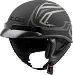 GMAX GM-35 DERK Full Dressed Motorcycle Half Helmet w/Drop-Down Sun Visor (Matte Black/Silver)