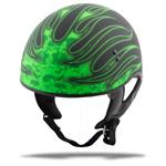 GMAX GM65 Naked Half Helmet Flame (Flat Black/Green)