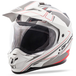 GMAX GM11 Expedition Adventure Touring Motorcycle Helmet (Flat White/Red)