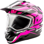 GMAX GM11 Vertical Snow Adventure Touring Helmet (Black/Hi-Vis Pink)
