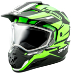 GMAX GM11 Vertical Snow Adventure Touring Helmet (Black/Hi-Vis Green)