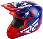 Fly Racing MX Motocross Kids Youth Kinetic Shocked Helmet (Gloss Blue/Red)
