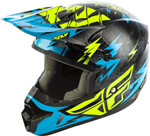 Fly Racing MX Motocross Kids Youth Kinetic Shocked Helmet (Gloss Black/Teal)