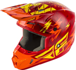 Fly Racing MX Motocross Kids Youth Kinetic Shocked Helmet (Gloss Red/Yellow)