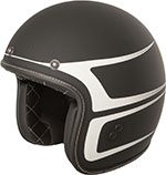 FLY Street - .38 Scallop Retro Open Face Motorcycle Helmet (Matte Black/White)