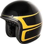 FLY Street - .38 Scallop Retro Open Face Motorcycle Helmet (Black/Yellow)