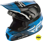 Fly Racing MX Motocross Kids Youth Toxin MIPS Embargo Helmet (Gloss Black/Blue)