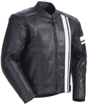 TOURMASTER Coaster 3 Leather Motorcycle Jacket (Black/White)