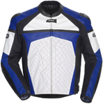 CORTECH Adrenaline Leather Motorcycle Jacket (White/Blue)