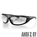 Bobster Charger Sunglasses (Black Frame, Anti-fog Clear Lens, ANSI Z87)