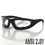 Bobster Foamerz 2 Sunglasses (Black Frame, Anti-fog Clear Lens, ANSI Z87)