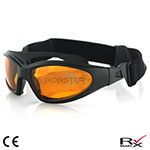 Bobster GXR Sunglasses (Black Frame, Anti-fog Amber Lenses)