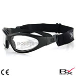 Bobster GXR Sunglasses (Black Frame, Anti-fog Clear Lenses)