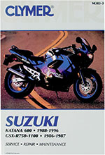 Clymer Repair Manual for Suzuki GSXR750 86-87, GSXR1100 86-87, GSX600F Katana 88-96