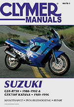 Clymer Repair Manual for Suzuki GSX-R750, 1988-1992, GSX750F Katana 1989-1996
